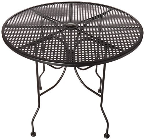 Oak Street Manufacturing OD36R Round Black Mesh Top Outdoor Table, 36