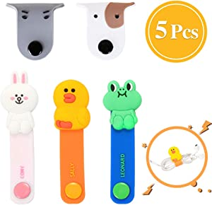 5 PCS Cartoon Animal Headphone Cord Winder Management Keeper for Cable USB Wires, Soft Silicone Handmade Earphone Cords Tangle Free Holder Wrap Organizer with Snaps