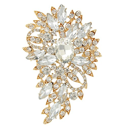 Vintage Leaf Brooch Pin - EVER FAITH Women's Austrian Crystal Wedding Flower Leaf Bouquet Brooch Clear Gold-Tone