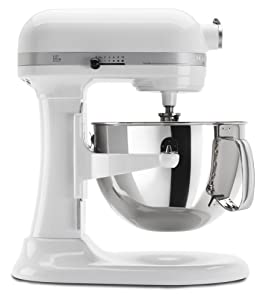 KitchenAid RKP26M1XWH 6 Quart Professional 600 Series Stand Mixer (Renewed)
