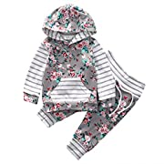 Baby Girl 2pcs Set Outfit Flower Print Hoodies with Pocket Top+Striped Long Pants (0-6M, Grey)