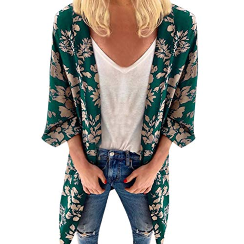 RIUDA Women Fashion Loose Summer Floral Print Short Sleeved Cardigan Tops Green]()