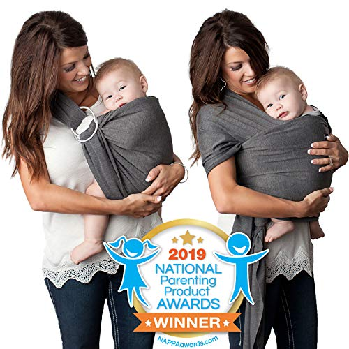 4 in 1 Baby Wrap Carrier and Ring Sling by Kids N#039 Such | Charcoal Gray Cotton | Use as a Postpartum Belt and Nursing Cover with Free Carrying Pouch | Best Baby Shower Gift for Boys or Girls