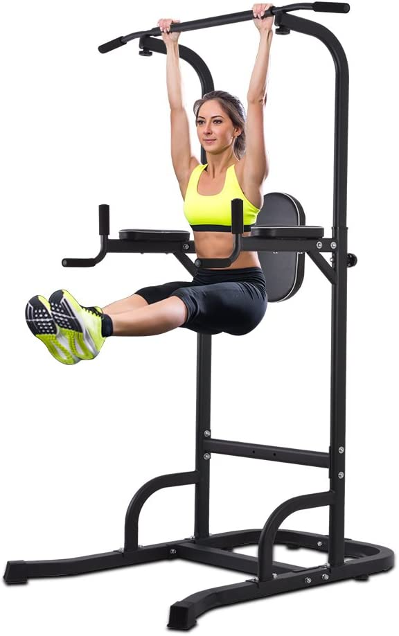 OneTwoFit Multi-Function Power Tower Adjustable Height Home Fitness Workout Station Dip Stands Pull up Bar Push Up