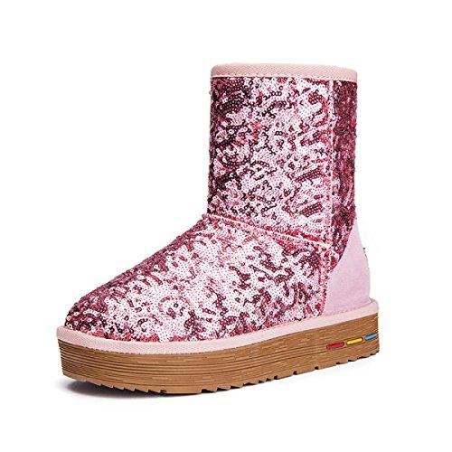 Engrosamiento Fondo Mujeres De El En Pink Pelo Tubo Las Antideslizante De Nuevo De Botas Botas Algodón Invierno Lentejuelas Grueso Nieve Caliente 5qzwTPH