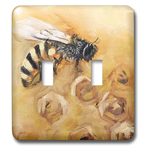 3dRose Melissa A. Torres Art Bees - Image of a honey bee on a honeycomb background - Light Switch Covers - double toggle switch (lsp_287459_2)
