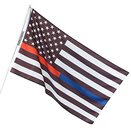 Thin Blue Line USA American Police Flag - Honor the Men and Women of Law Enforcement - Black , White and Blue - 3x5 Foot with Brass Grommets ( Thin Red / Blue Line ) - Crest Tapestry