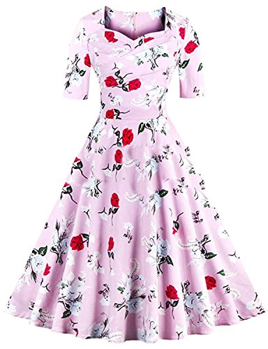 [Cheryl Bull Popular Women Elegant Sexy Slim Fit Vintage Rockabilly Swing Dress PinkXX-Large] (German Fancy Dress Ideas)
