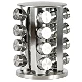 diy countertop spice rack Rotating Spice Rack with 16 Spice Jars - Durable and Stylish Revolving Seasoning Storage and Organizer with Sturdy Bottles and Stable Base Stand, Perfect for your Kitchen Countertop and Dining Table