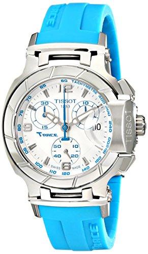(Tissot Women's T0482171701702 T-Race White Dial Blue Silicone Strap Watch)