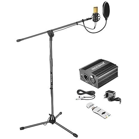 Neewer NW-800 Kit de Micrófono de Condensador: NW-800 Micrófono, Soporte de Micrófono con Boom, 48V Fuente de Alimentación Phantom, Soporte de Choque, ...
