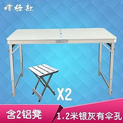 Xing Lin Table Pliable Alliage Aluminium Extérieur Table Et Chaises Pliantes Pour Répandre La Promotion Portable Pique-Nique Barbecue Table De Calage 120*60*70Cm, L'Amélioration De 1,2 Mètres Argen