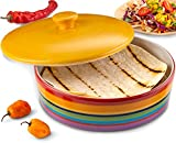 KooK Tortilla Warmer, Colorful Rainbow Design, Holds up to 12 tortillas,