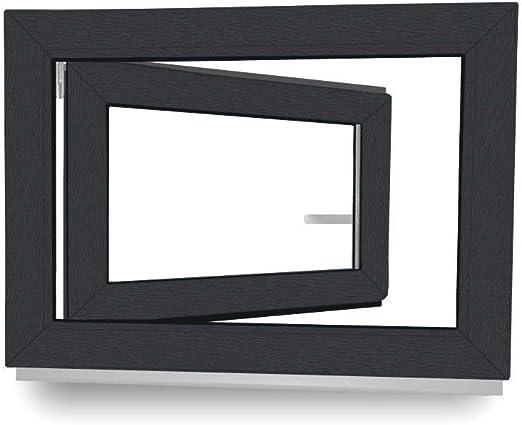 Kunststofffenster BxH: 700x700 mm DIN Rechts innen wei/ß au/ßen anthrazit 70 mm Rahmenprofil 2-Fach Verglasung