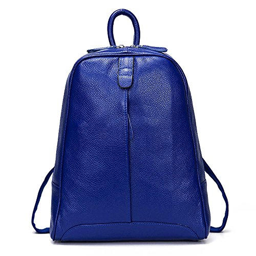 Casual Blue Genuine Leather Fashion Girls Delivery Knapsack Travel Backpack Women DHL Laptop P0U6xqw