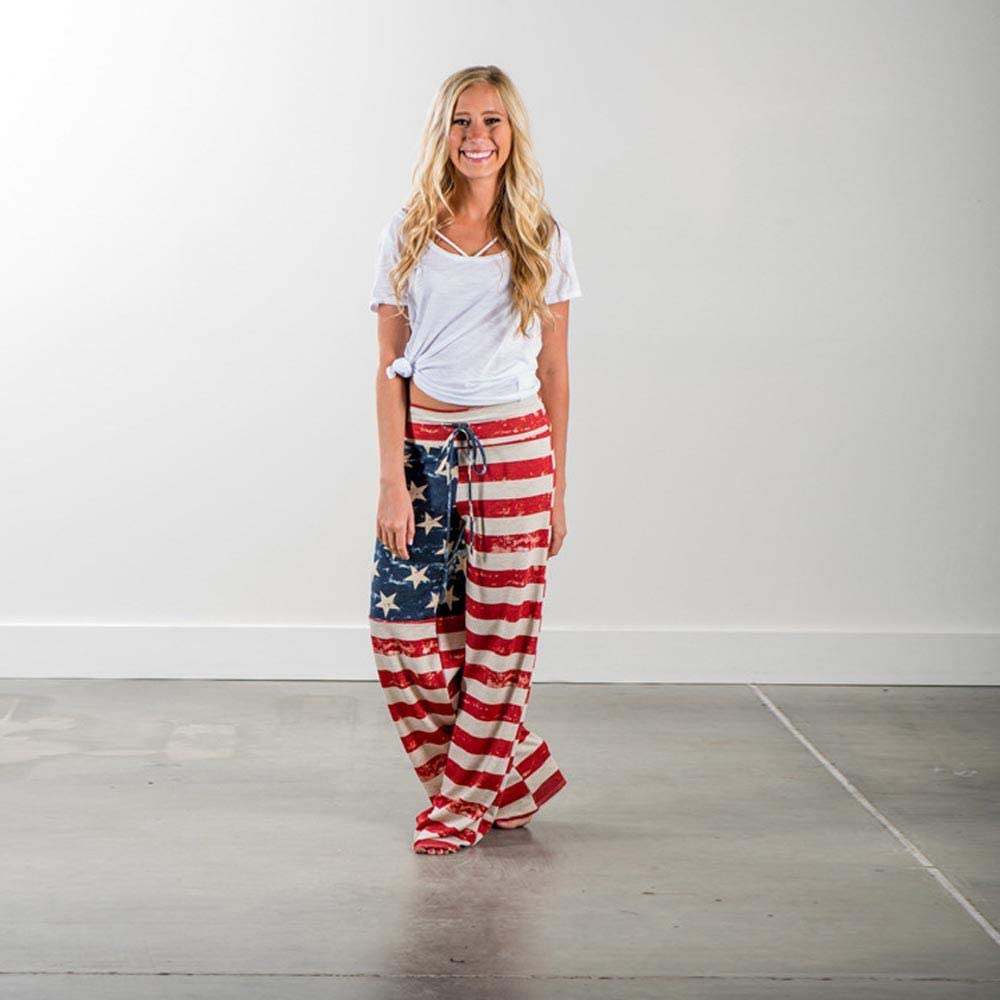 Women American Flag Lounge Pants High Waist Wide Legs Comfy Pajamas Pant Drawstring Palazzo Pants Casual Stretch Loose Leggings July 4th