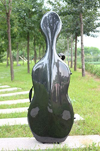 4/4 Cello case Mixed Carbon Fiber Full size Hard case Hard Shell Strong Light 3.7 kg Support 300kg pressure (black-l) (Best Cello Cases Hard)