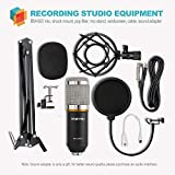 ZINGYOU Condenser Microphone Bundle, BM-800 Mic Kit with Adjustable Mic Suspension Scissor Arm, Shock Mount and Double-Layer Pop Filter for Studio Recording & Brocasting