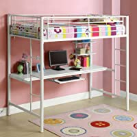 New Twin over Workstation Metal Bunk Bed with Ladder, White Finish