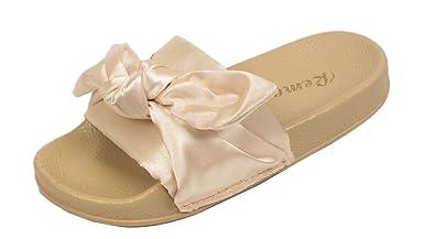 b1ccbc9464a53f Kids Girls Satin Bow Plain Rubber Sliders Flats Shoes Slides Slipper Sandal  Size (UK 10
