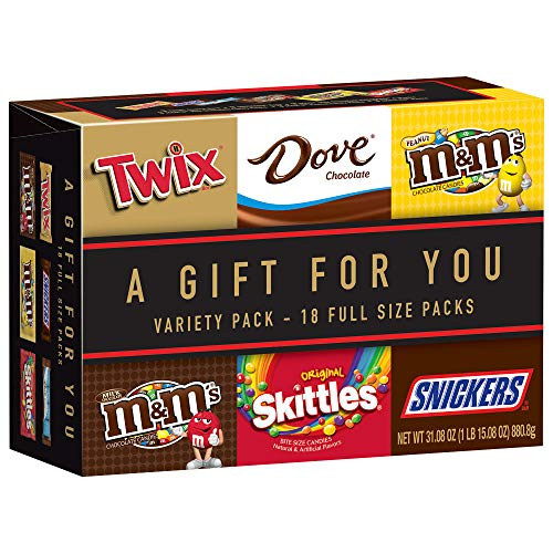 MARS Chocolate TWIX, SNICKERS, DOVE, M&M'S Milk Chocolate, M&M'S Peanut and SKITTLES Full Size Candy Gift Box, 31.08-Ounce 18 Count Variety Box