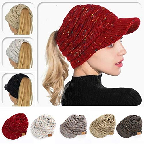 KOKOBUY Ponytail Hat, Winter Autumn Knitted Ponytail Flower Line Hollow Hat Warm Soft Wool Cap Headband