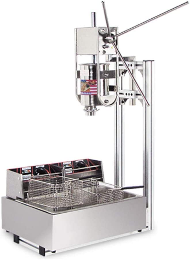 Huanyu 3L Commercial Vertical Manual Spanish Churros Machine with 12L Deep Fryer (220V)