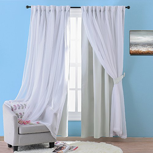 NICETOWN Double Layers Light Blocking Mix & Match Elegance White Crinkled Voile and Noise Reducing Blackout Curtain with 2 Bonus Tie-Backs (One 2-Layer Drape, W52 x L63, - Sheer Layer Double