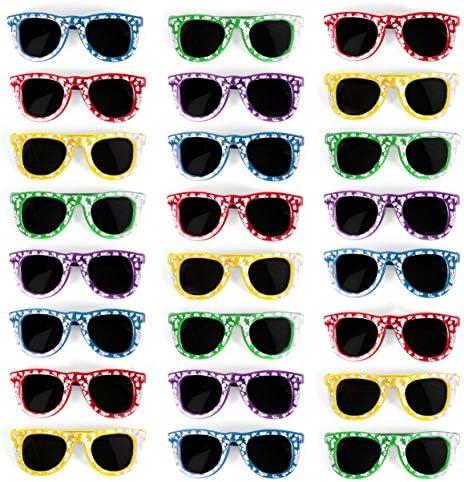ハイビスカス UV保護サングラス パーティーの記念品 - お気に入りのルアウパーティーやプールパーティーの記念品 - バルクパーティーの25個セット