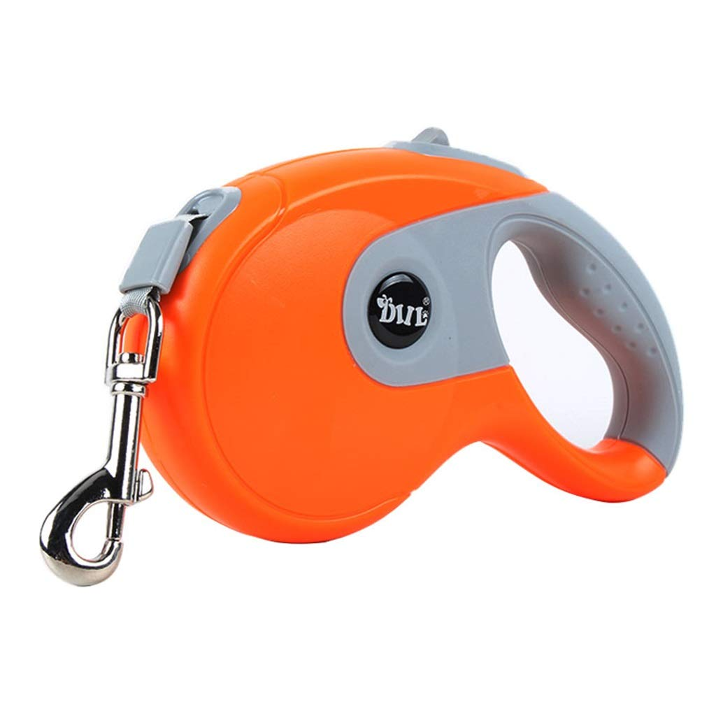 M(3M10kg) Pet Dog Leash Lead Dog Flexible Freely Instant Retractable Extendable Dog Lead 5M 3M,Chain Rope Dog Running Lead (orange)