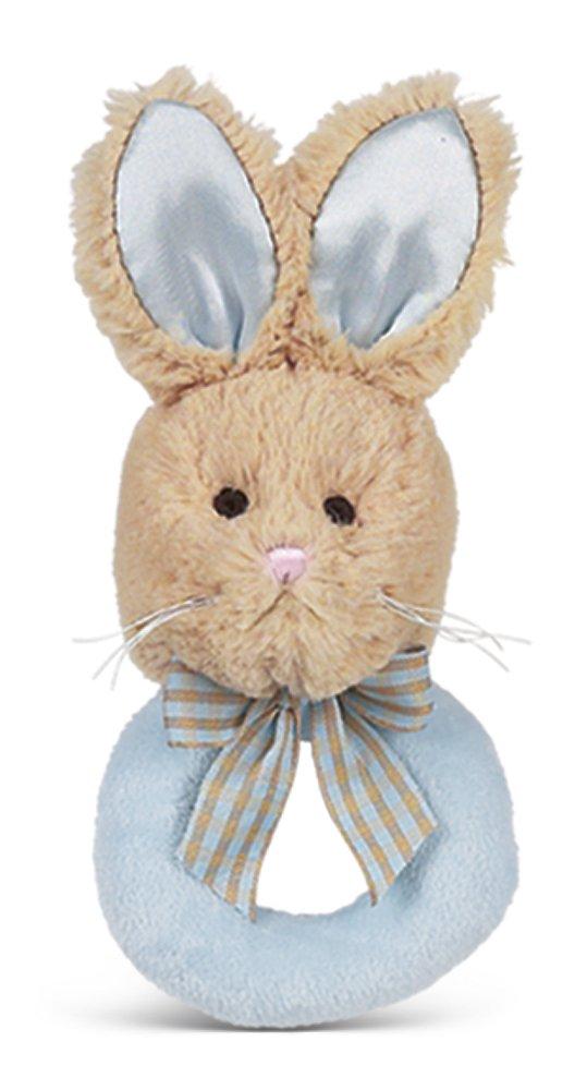 Bearington赤ちゃんLil ' Bunny Tail Plush Ring Rattle (ブルー&タン) 5.5