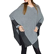 Sunfan Women's Soft Casual Colorblock Batwing Cable Knit Pullover Poncho Sweater Cape
