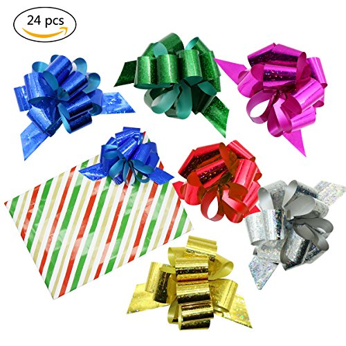 24 Pcs Pull Bows for Gift Wrapping,Christmas/Wedding/Valentine's Day/Present Decoration Pull Bows (A Style) by JIWINNER