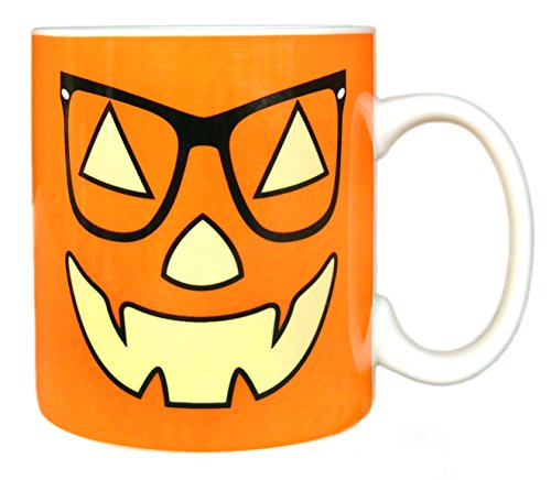 [MAUAG Funny Coffee Mug - Unique Mother's Day and Father's Day Gifts - Vintage Jack-O-Lantern With Glasses Pumpkin Face Ceramic Cup Orange, Best Office & Birthday & Party Gag Gifts, 14 Oz by] (Cute Halloween Gifts For Coworkers)