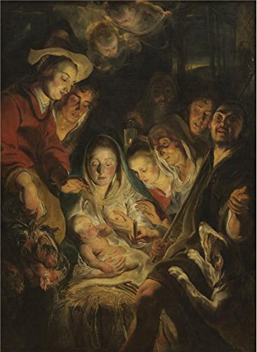 Oil Painting 'Jacob Jordaens I - Adoration Of The Shepherds, About 1618', 8 x 11 inch / 20 x 28 cm , on High Definition HD canvas prints is for Gifts And Foyer, Game Room And Garage Decoration, quick