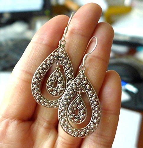Daisy flower Double Tear Drop Balinese sterling silver hook earring AE22