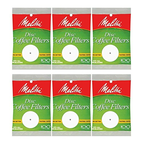 White Disc Coffee Filter, 100 Count (Pack of 6)