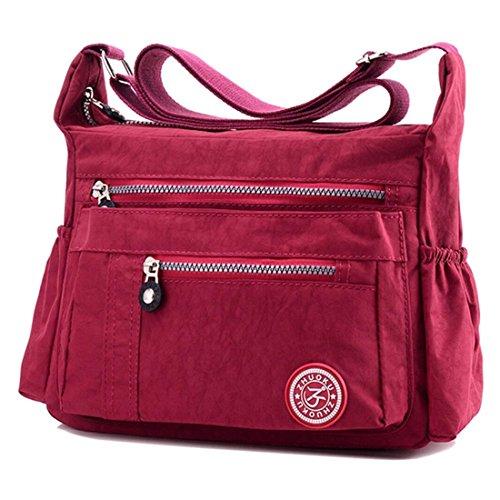 YouNuo Women's Waterproof Nylon Multi Zipper Pockets Small Cross Body Shoulder Bag Lightweight Satchel by YouNuo