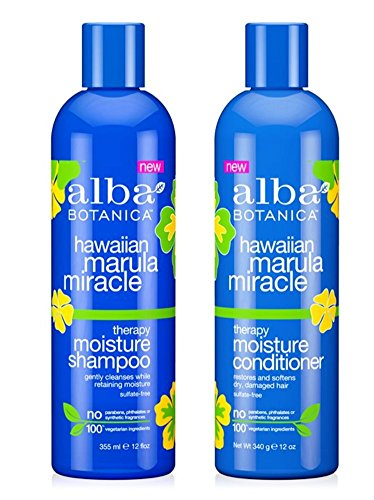 Alba Botanical Shampoo - Alba Botanica Hawaiian Marula Miracle Therapy Shampoo and Conditioner Bundle, 12 Ounces Each
