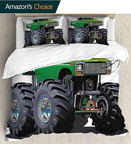 Cars 3 Piece Quilt Coverlet Bedspread,Giant Monster Pickup Truck with Large Tires and Suspension Extreme Biggest Wheel Print All Season Lightweight Colorblock Kids Bedding Set 90
