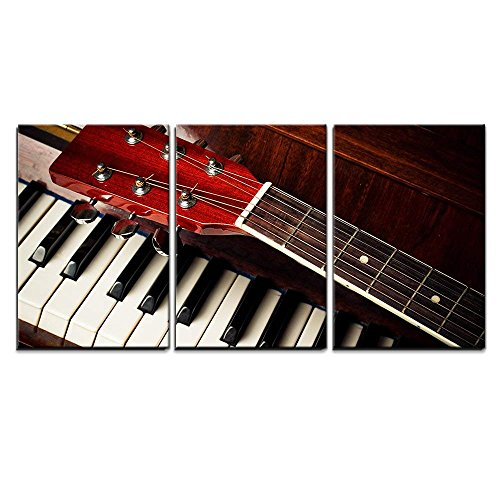 wall26 - 3 Piece Canvas Wall Art - Acoustic Guitar Neck on Piano Keys - Modern Home Decor Stretched and Framed Ready to Hang - 16