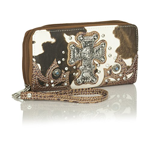 Wallet Wristlet Embossed Leather Concho