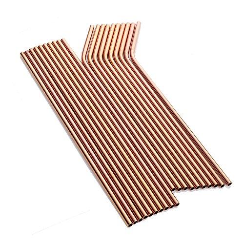 Metal Straw, Rose Gold Extra Long Drinking Stainless Steel Reusable Smoothie Straws for Yeti Tumbler Rambler Mugs ()
