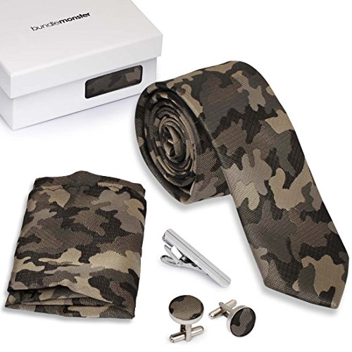 Bundle Monster 4pc Matching Design Pattern Mens Suit Fashion Accessories Set - - Camouflage Necktie