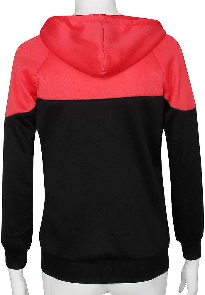 Ouneed® Femme Fluo Sweat Shirt a Capuche Zippe