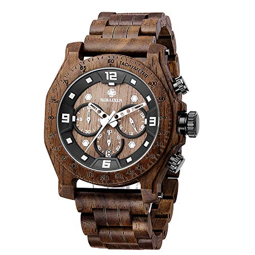 Wood Watches for Men Handmade Watch Wood Band Chronograph & Date Display Quartz Wooden Watch Men