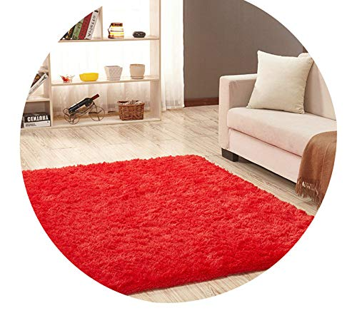 Super Soft Silk Wool Rug Indoor Modern Shag Area Rug Silky Rugs Bedroom Floor Mat Baby Nursery Rug Children Carpet,Red,200X300cm