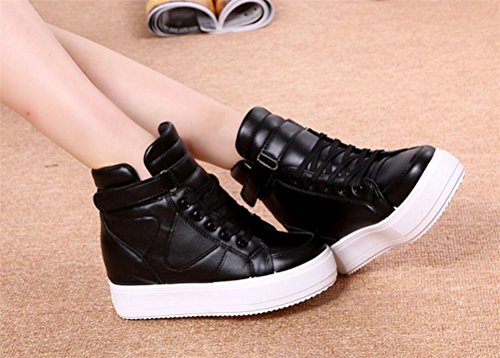 Shoes Sneakers Heel Top SATUKI Wedge Fashion Hidden Black Womens Casual Platform High wZ7A6p