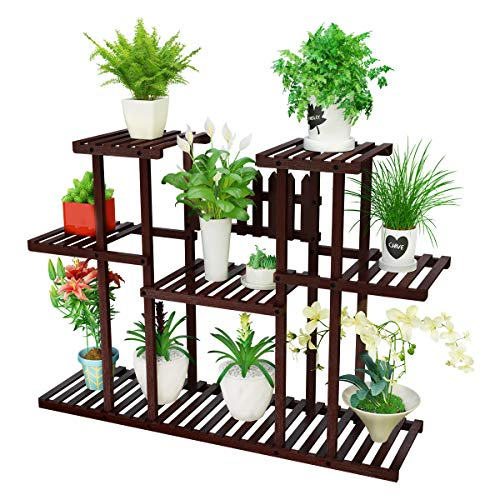 Homemaxs Plant Display Stand, 8-Tier Natural Bamboo Flower Bonsai Pot Holder Indoor Outdoor Large Storage Space Display Rack for Living Room, Balcony, Patio, Bathroom (Brown)