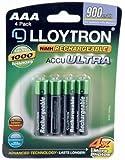 Lloytron AAA 900 mAh NIMH AccuUltra Battery (Pack of 4)